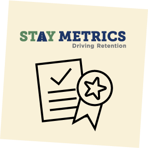 Stay Metrics logo on a post-it note background.