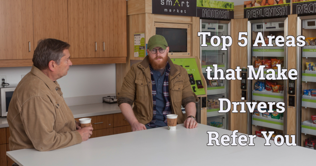 Two men drinking coffee at a table. Text: Top 5 Areas that Make Drivers Refer You