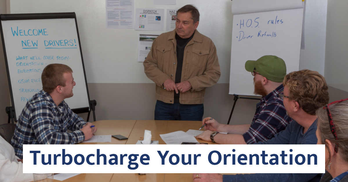 Man teaching a class. Text: Turbocharge Your Orientation